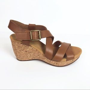 Clarks | Brown Leather Strappy Cork Wedge Sandal